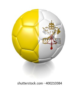 3D rendering of a football soccer ball colored with the flag of the Vatican City isolated on a white background