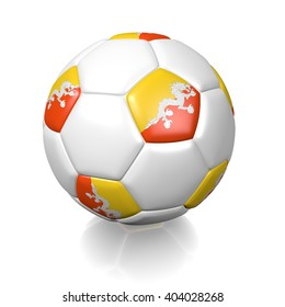 3D rendering of a football soccer ball colored with the flag of Bhutan isolated on a white background