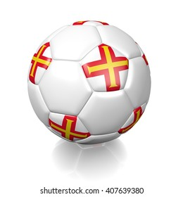 3D rendering of a football soccer ball colored with the flag of Guernsey isolated on a white background