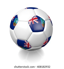 3D rendering of a football soccer ball colored with the flag of Montserrat isolated on a white background
