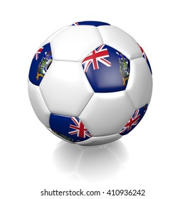3D rendering of a football soccer ball colored with the flag of South Georgia and the South Sandwich Islands isolated on a white background