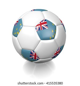 3D rendering of a football soccer ball colored with the flag of Tuvalu isolated on a white background