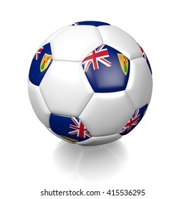 3D rendering of a football soccer ball colored with the flag of Turks and Caicos Islands isolated on a white background
