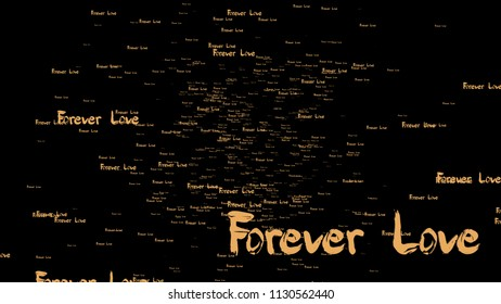 The 3d rendering of forever love wording with nice gold color