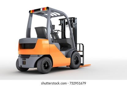 3d rendering forklift truck isolated on white background