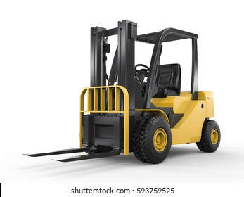 3d rendering forklift truck on white background
