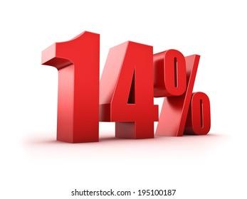 3D Rendering of a fourteen percent symbol