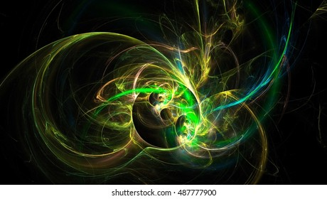 3D rendering fractal spark light background