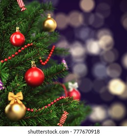 3d Rendering fragment decorated Christmas tree with toys