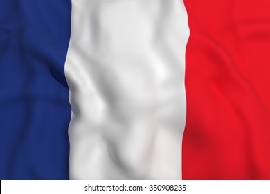 3d rendering of a france flag waving