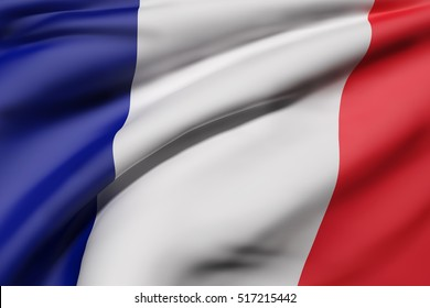 3d rendering of France flag waving