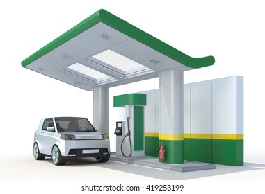3D Rendering of a Fuel Cell Vehicle in Charging Station on white background.