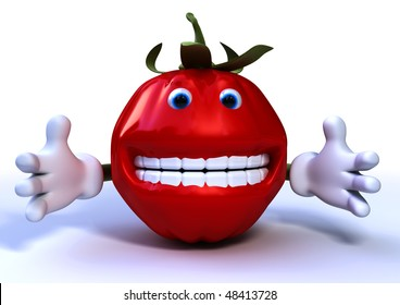 3d rendering of a funny tomato character isolated on white background