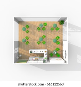 3d rendering of furnished cafeteria