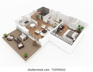 3d rendering of furnished home apartment - 3d Floor Plan Free