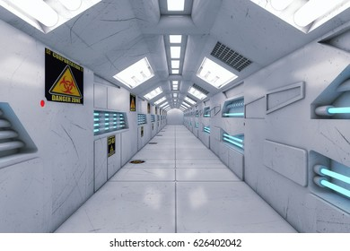 3d rendering. Futuristic background architecture corridor.