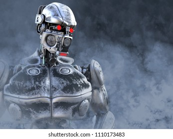 3D rendering of a futuristic mech soldier in a polluted futuristic dystopian world. Toxic smoke all around him.
