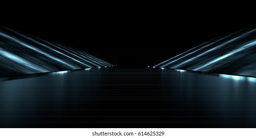 3d rendering of a futuristic road with lights
