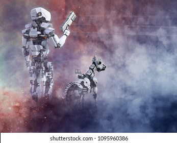 3D rendering of a futuristic robot cop holding gun with a dog beside him, fighting a war in a ruined city. Smoke and fire all around them.