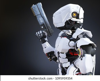 3D rendering of a futuristic robot police or soldier holding a gun. Dark background.