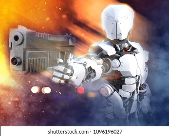 3D rendering of a futuristic robot police or soldier holding up a gun with fire and smoke around him.