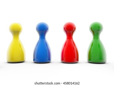 3d Rendering game figure team blue red green
