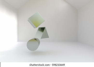 3d rendering of geometric blocks in room