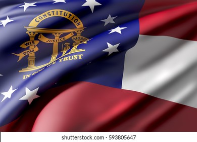 3d rendering of a Georgia State flag waving