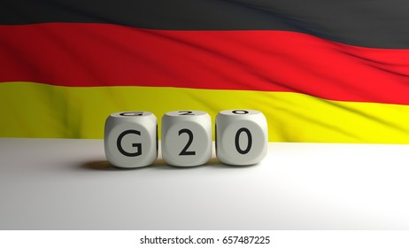 3D rendering with a German flag in waving in background. G20 summit.