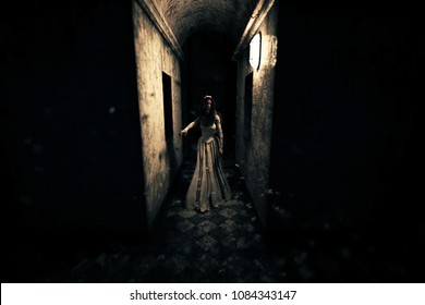 3d rendering of a ghost bride in haunted house