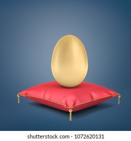 3d rendering of a giant golden egg stands on a red silk cushion with golden tassels on a blue background. Source of income. Golden goose. Valuable investment.