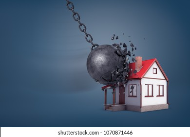 3d rendering of a giant wrecking ball breaks in small pieces when hits a small family house. Sound home. Financial strength. Family integrity.