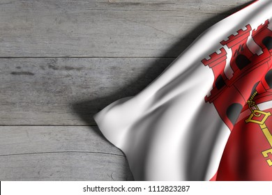 3d rendering of Gibraltar flag over a wooden surface