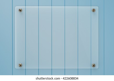 3d rendering glass board on wooden background