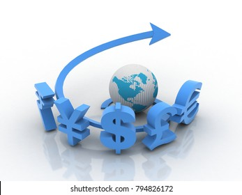 3d rendering Global Currencies