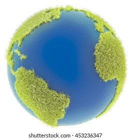 3D rendering of globe with furry grass