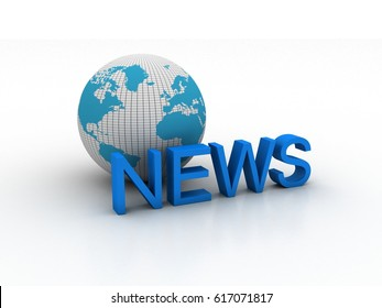 3d rendering globe with news