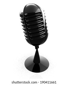3d rendering of a glossy black microphone