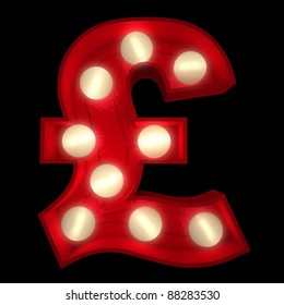 3D rendering of a glowing British Pound symbol ideal for show business signs (part of a complete alphabet)