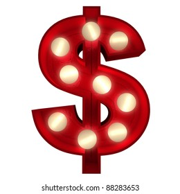 3D rendering of a glowing dollar symbol ideal for show business signs (part of a complete alphabet)