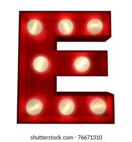 3D rendering of a glowing letter E ideal for show business signs