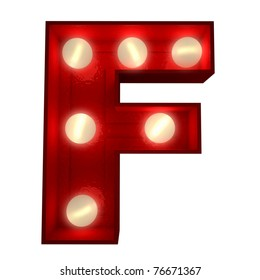 3D rendering of a glowing letter F ideal for show business signs