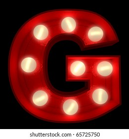 3D rendering of a glowing letter G ideal for show business signs