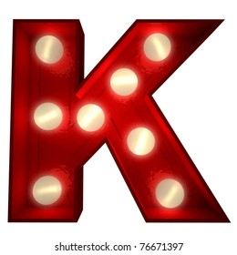 3D rendering of a glowing letter K ideal for show business signs