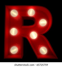 3D rendering of a glowing letter R ideal for show business signs