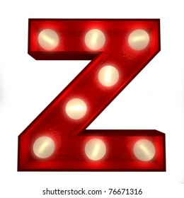 3D rendering of a glowing letter Z ideal for show business signs