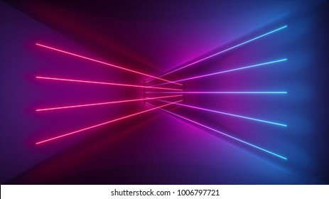 3d Rendering Glowing Lines Neon Lights Abstract Psychedelic Background Ultraviolet Pink