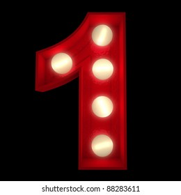 3D rendering of a glowing number 1 ideal for show business signs (part of a complete alphabet)