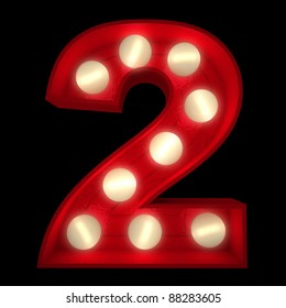3D rendering of a glowing number 2 ideal for show business signs (part of a complete alphabet)