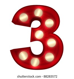 3D rendering of a glowing number 3 ideal for show business signs (part of a complete alphabet)